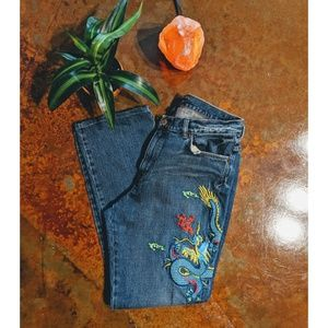 Ralph Lauren embroidered dragon jeans size 12